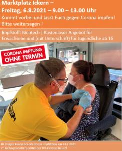 Read more about the article Auf dem Marktplatz Ickern wird wieder geimpft